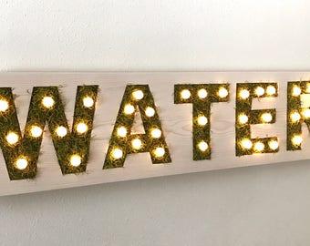 CUSTOM COLOR: Moss Marquee Light Sign || Event Sign || Wedding Sign || Vertical Garden || Wall Planter || Living Wall