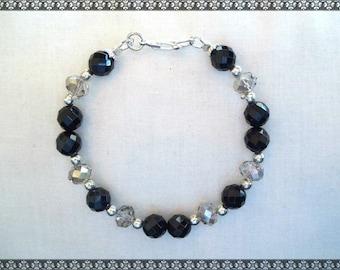 black bracelet, black beaded bracelet, onyx bracelet, grey bracelet, silver