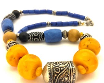Necklace Vintage Morocco Amber Clay Resin Orange Wooden Metal Beads Folk Ethnic Style Excellent Handmade