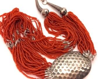 """Semilla de cristal rojos tribales étnicas Vintage de Marruecos collar perlas largo 24,5"""" hecho a mano"""