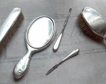 Antique silver vanity set mirror brush vanity set button hook file