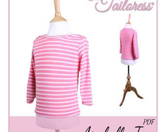 Arabella Top PDF Sewing Pattern Jersey Tee T-Shirt Top for  Children Child Girls Digital ePattern Instant Download- ages 1-6 years