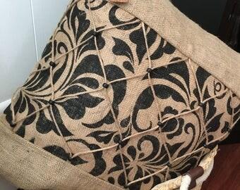 Natural/Floral print burlap fabric pillow cover
