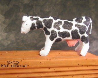 Felt cow, felt cow making pattern, felt animal, felt animal tutorial in a PDF file, felt cow tutorial, cow PDF, DIY cow, cow pattern