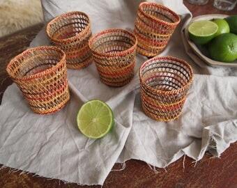Set of five woven pot holders - baskets - ethnic basket - pot holders - rustic home - boho decor - tribal basket - cup holder - coaster set