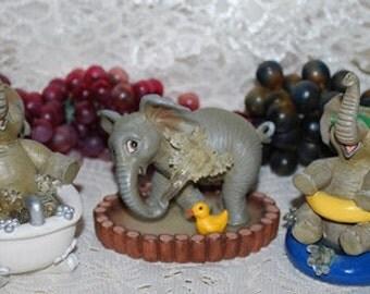 1996 The Hamilton Collection 3 Pc Set Of Elephant Figurines