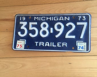 Vintage Michigan license plate/1973 trailer license plate