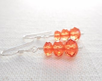 Hyacinth Czech Glass Earrings, Red Orange Beaded Drop Earrings, Sterling Silver Czech Glass Jewelry, Dangle Earrings, Jewelry Gift for Her