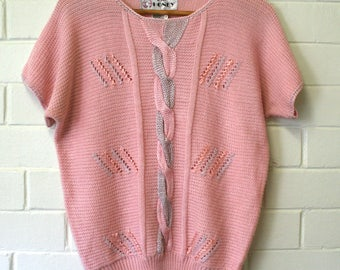 Vintage 1980s R-Jay Honey Pink Grey Knit Jumper Pullover Sweater Top Sz 10