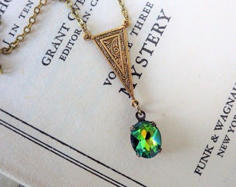 Egyptian Green Pendant ~ Green Art Deco ~ Small ~ Vitrail Glass ~ SET Available ~ by LadyofTheLakesJewels