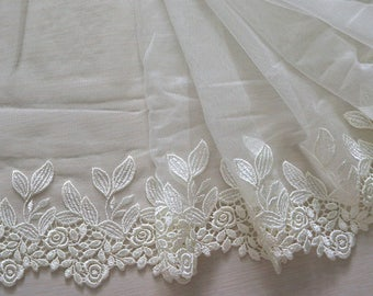 """9.5"""" light beige embroidered tulle net lace 2 yard"""
