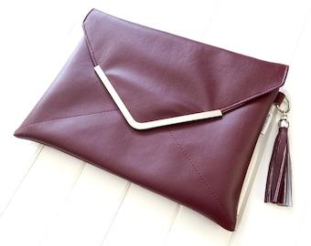 Clutch Purse, Faux Leather Clutch Purse, Vegan Clutch Purse, Sakuro Clutch, Handmade Clutch, Envelope Clutch, ipad Case, Tablet case