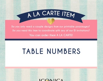 """Table Numbers 5x7"""" 