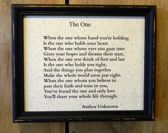 "Print of the Love Poem ""The One"" Love Poem - Wedding - Custom  Nursery - Anniversary Gift"