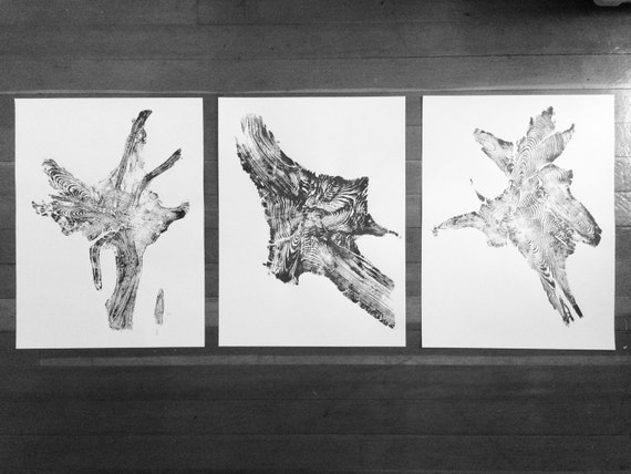 Triptych Tree Roots, Set of 3 prints, Large wall art, real tree roots, tree root art, tree root print, Woodblock print, National parks