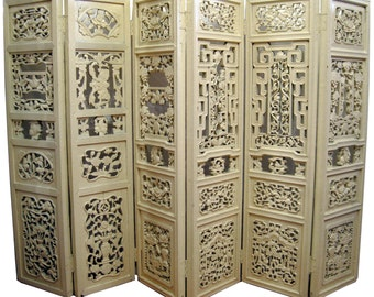 "Antique hand-carved floral 6-panel screen/ room divider - 53"" tall"