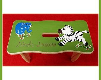 Safarie Zebra elephant footstool with Namesgravur