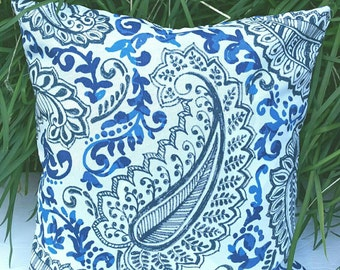 4 Colors Available- Premier Prints Indoor Outdoor Paisley Print Pillow Cover with Hidden Zipper