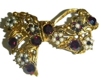Red Garnet Ribbon Bow Brooch Pin Rhinestone Seed Pearl Victorian Revival Floral Bowtie January Birthday Vintage Jewelry Valentines Day Gift