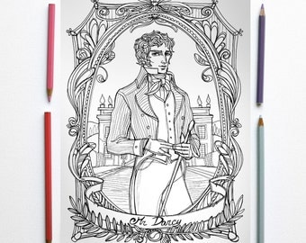 Coloring page PDF-  Jane Austen, Pride and prejudice - Mr Darcy and Pemberley in foreground- Instant download - Art Printable illustration