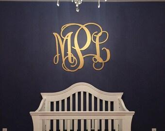 Large Gold Wood Monogram - Wooden Monogram wall Hanging - Nursery Decor - Nursery Monogram - Wedding Guestbook Sign - Wedding Decor