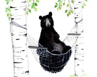 black bear in a hammock summer Print 8x10