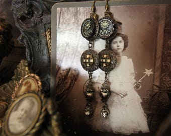 Edgy Assemblage Earrings- OOAK Upcycled Earrings with Ivorex Victorian Floral Buttons Rhinestones and Labradorite Chips