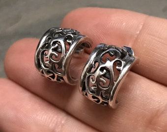 Vintage Sterling silver handmade earrings, solid 925 silver hoops studs with filigree details, stamped 925