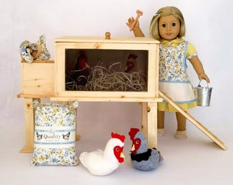 Doll CHICKEN COOP  Handcrafted for 18 Inch dolls such as American Girl® Handcrafted hen house, available with optional accessories