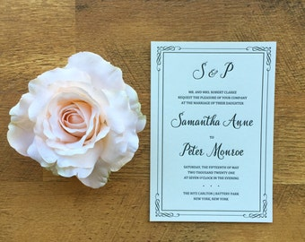 Letterpress Wedding invitation, black ink, DLP01-SC0515