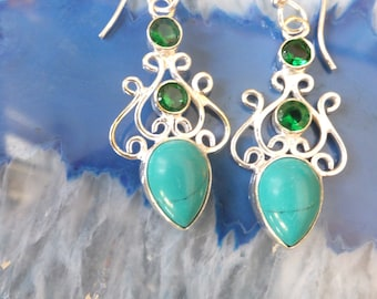 Turquoise and Chrome Diopside and Sterling Silver Earrings
