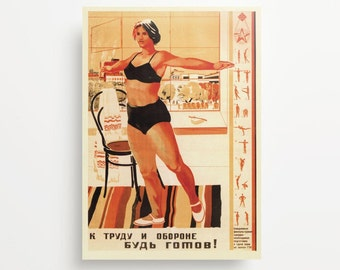 Vintage Soviet Poster Be In Shape For Work And Defense Giclée Print