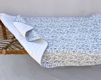 Quilted bedspread, blue swirl print, cotton quilt, victorian print, 100% cotton, 60X 90 inches