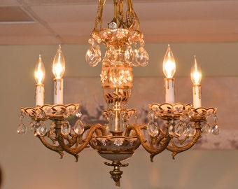 Vintage Brass and Glass Chandelier, Made in Spain, Vintage Lighting
