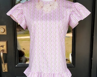 Women's ruffle top the Elloree top shown in spring wave size xsmall only custom made by Collyn Raye