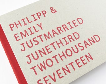Wedding Guest Book Handstamped