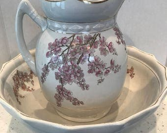 Antique 9 Piece Victorian Bowl & Pitcher Master Chamber Set Made by Belle Pottery Company