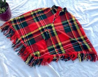 Vintage Women's Flannel Poncho w/ Fringe