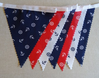 3m Length - Nautical Anchor Bunting Red White Blue on White Tape - Beach Seaside