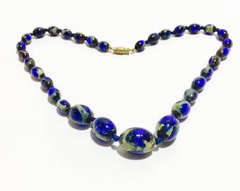 Art Deco Venetian Foil Glass Necklace