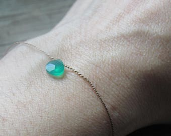 tiny GREEN ONYX bracelet on a silk cord May birthstone natural gemstone floating stone beaded minimalist