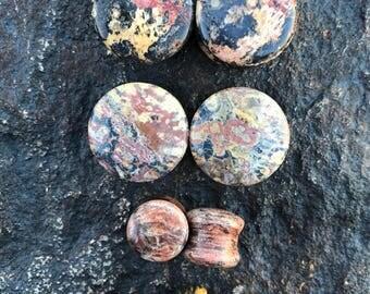 """Leopard Skin Jasper 6g, 4g, 2g, 9/16"""" (14mm), 3/4"""" (19mm), 1"""" (25mm)"""