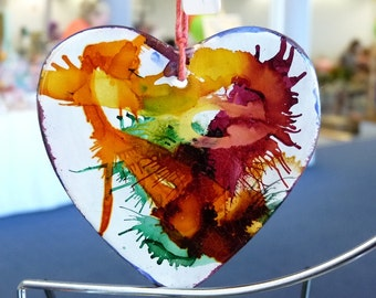 Hand painted ceramic Hearts and Stars