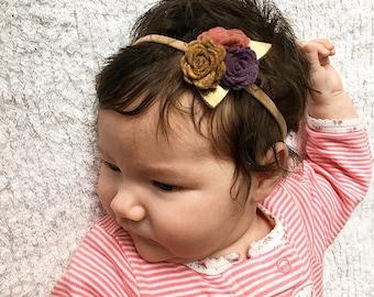 Small Newborn Photo Prop Felt Flower Trio Crown Headband
