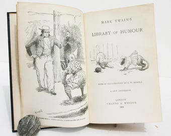 Mark Twain Library Of Humour Vintage book American History 1906s Story book antique