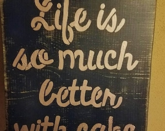 Hand Crafted Rustic Primitive Life Is So Much Better With Cake Distressed Rose Gold Glitter Wood Sign Home Decor Wall Hanging