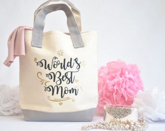 Worlds Best Mom Tote Bag Mothers Day Gift Gift for Mom  Mom Gifts  Mom Birthday Gift New Mom Gift  Mother Tote Bag Personalized Gift for Her