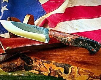"""Personalized Hand Forged """"Calvin"""" Bushcraft Knife"""