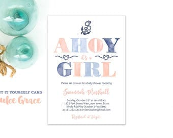 Ahoy baby invites, baby shower invite, baby sprinkle invitations, nautical baby shower, nautical invite, download invite, peach blue invites