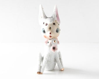 Mid-Century White Fawn Figurine - Vintage Deer Statue - Made in Japan - Home Decor - Kitschy Deer Figurine - Ceramic Woodland Figurine